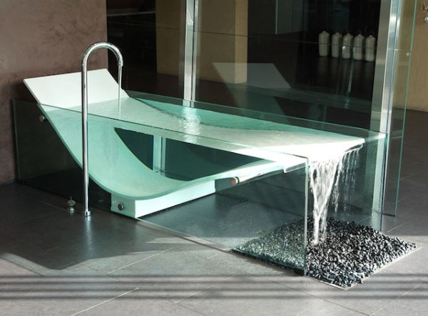 Glass waterfall bathtub
