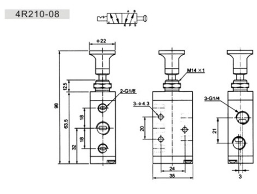 Two Position Five Way Manual Operated Hand Valve 4R210-08S