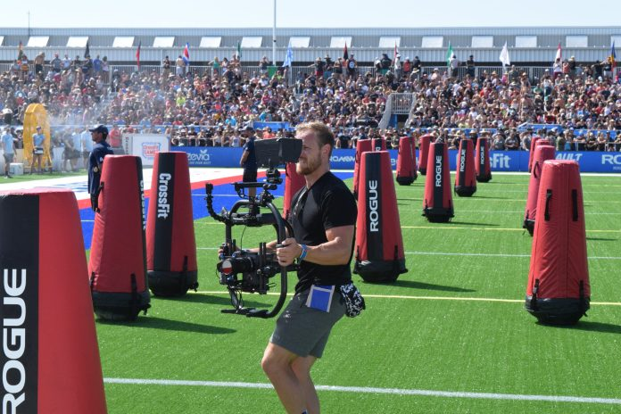 Marston Sawyers of the Buttery Bros films the sprint event at the 2019 CrossFit Games