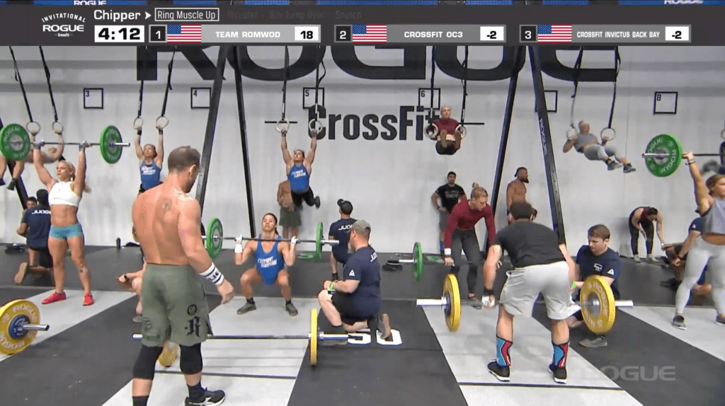 Rich Froning (left) is partnered with Chyna Cho on CrossFit Mayhem Freedom's set of thrusters.