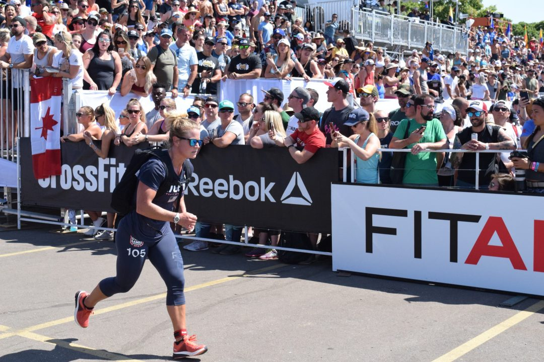 Mekenzie Riley completes the Ruck Run event at the 2019 CrossFit Games