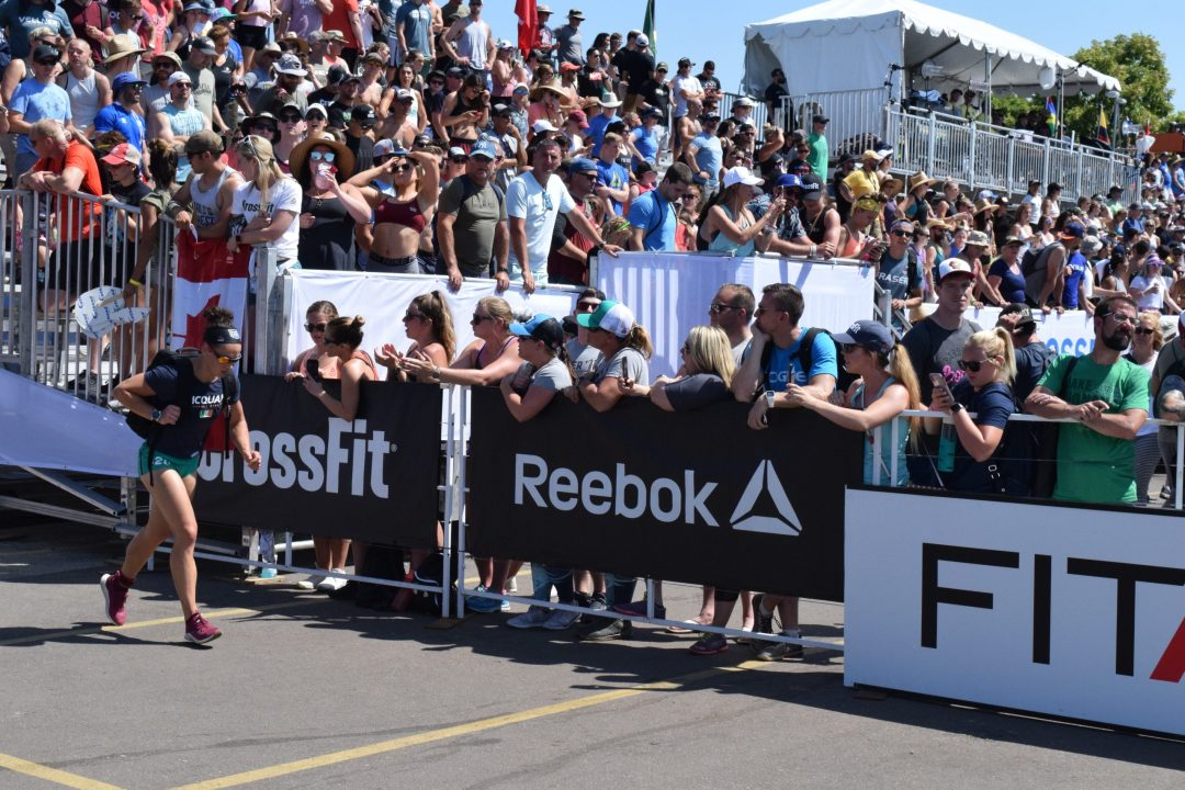 Emma McQuaid completes the Ruck Run event at the 2019 CrossFit Games.