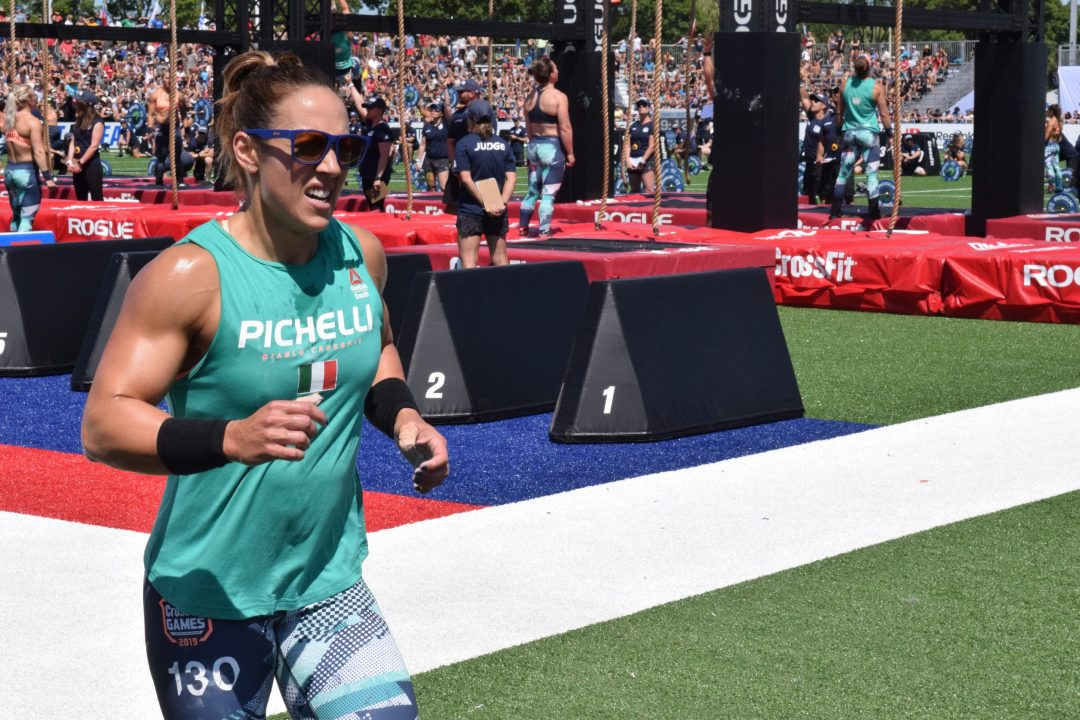 Alessandra Pichelli takes a lap between rounds of legless rope climbs at the 2019 CrossFit Games