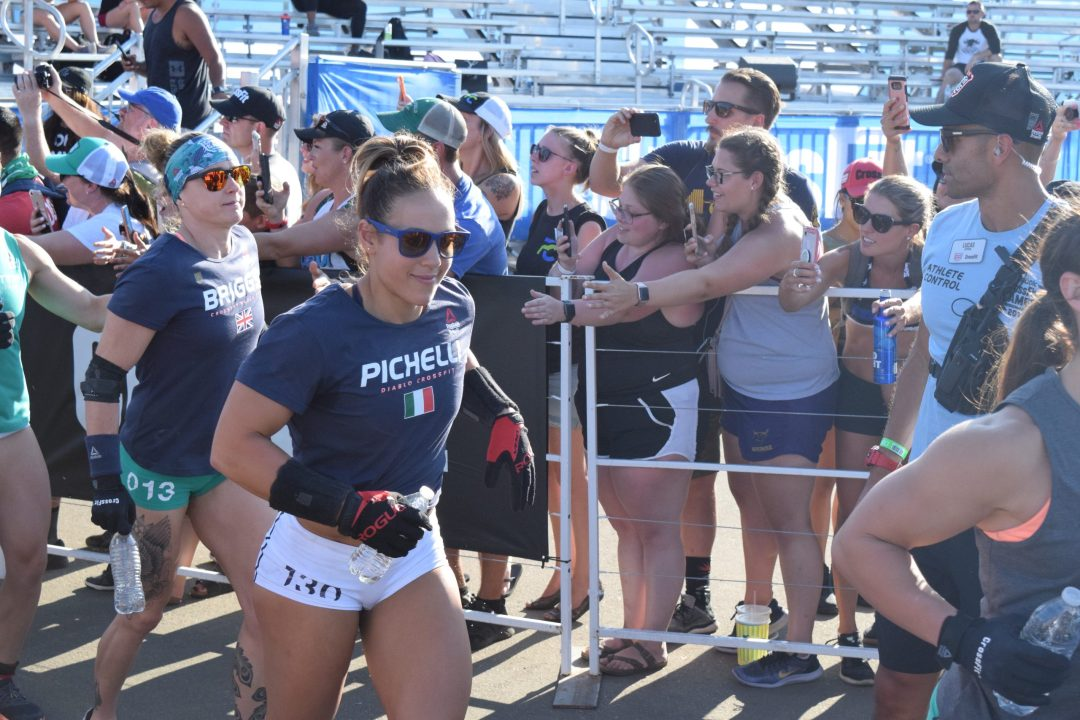 Alessandra Pichelli enters the stadium on the first day of the 2019 CrossFit Games