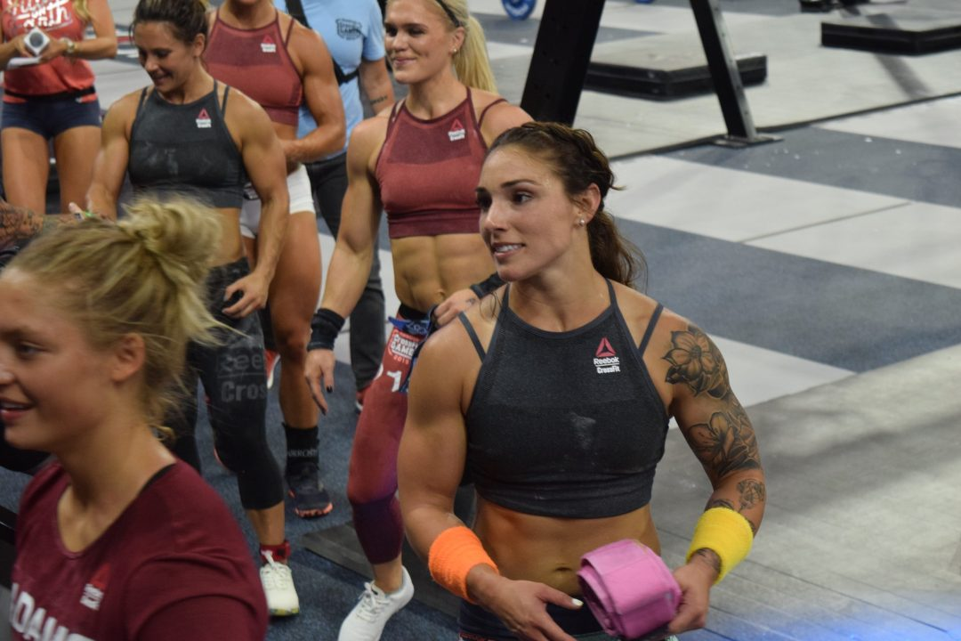 Bethany Shadburne of Streamline CrossFit on the floor of the Coliseum at the 2019 CrossFit Games