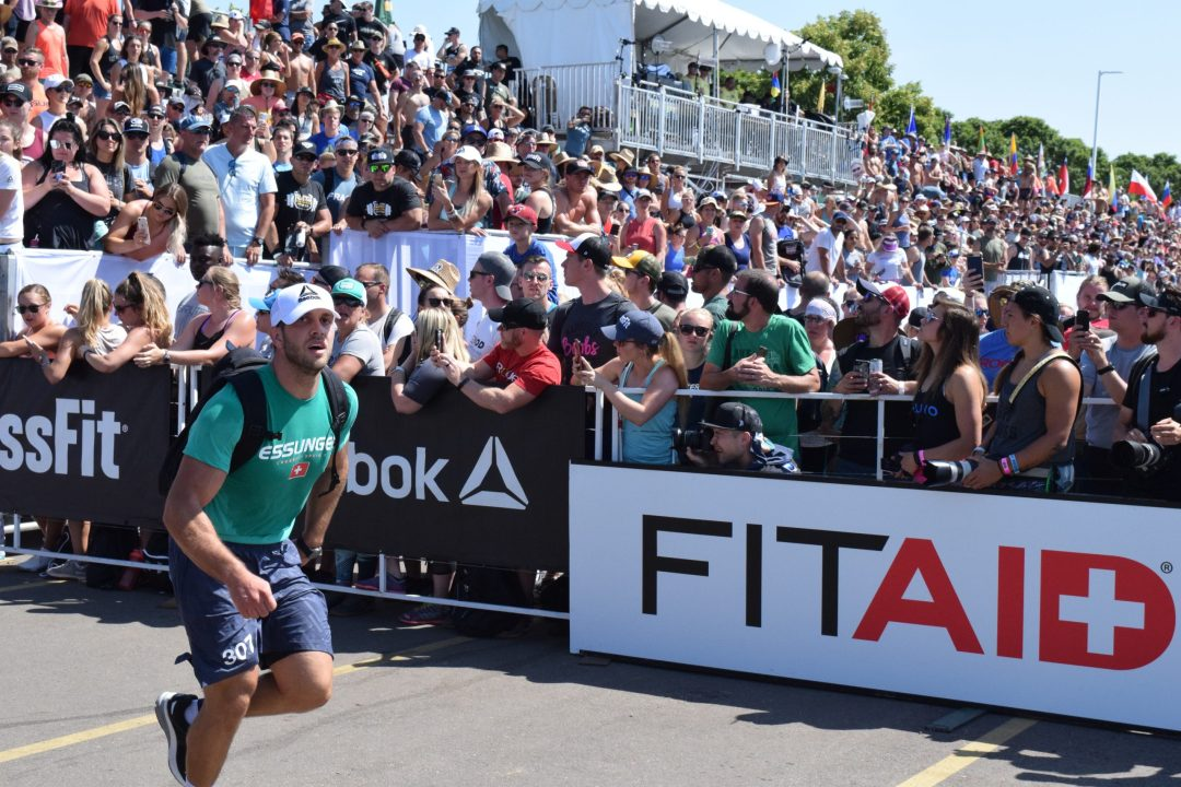 Lukas Esslinger of Switzerland completes the Ruck Run event at the 2019 CrossFit Games