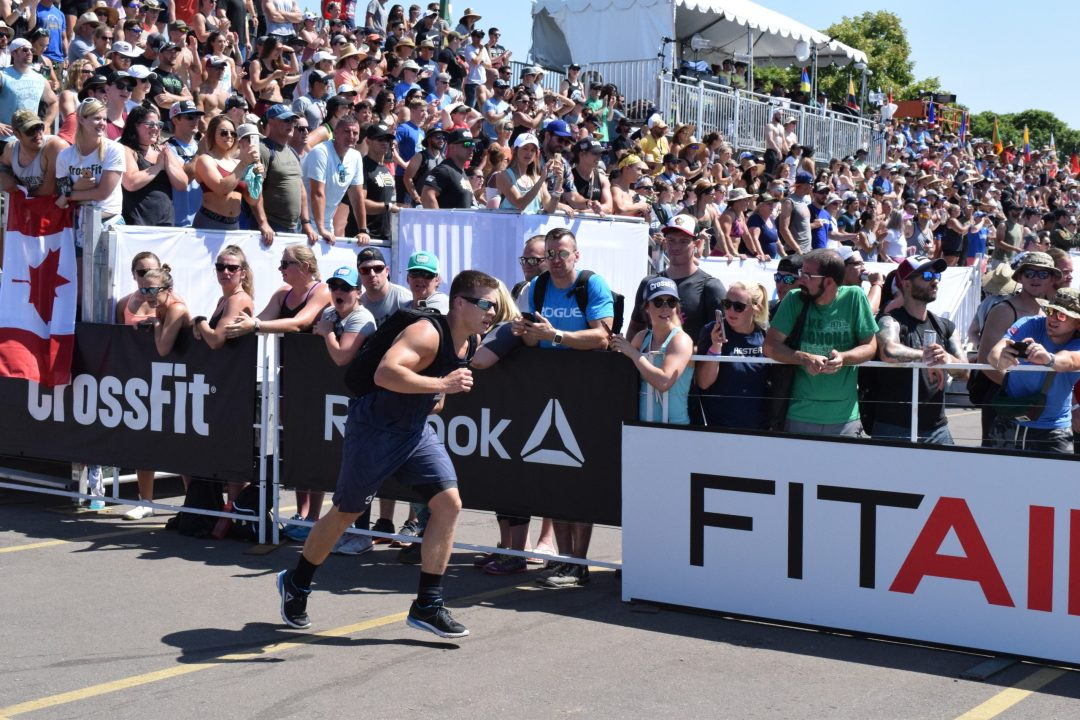 Saxon Panchik completes the Ruck Run event at the 2019 CrossFit Games.