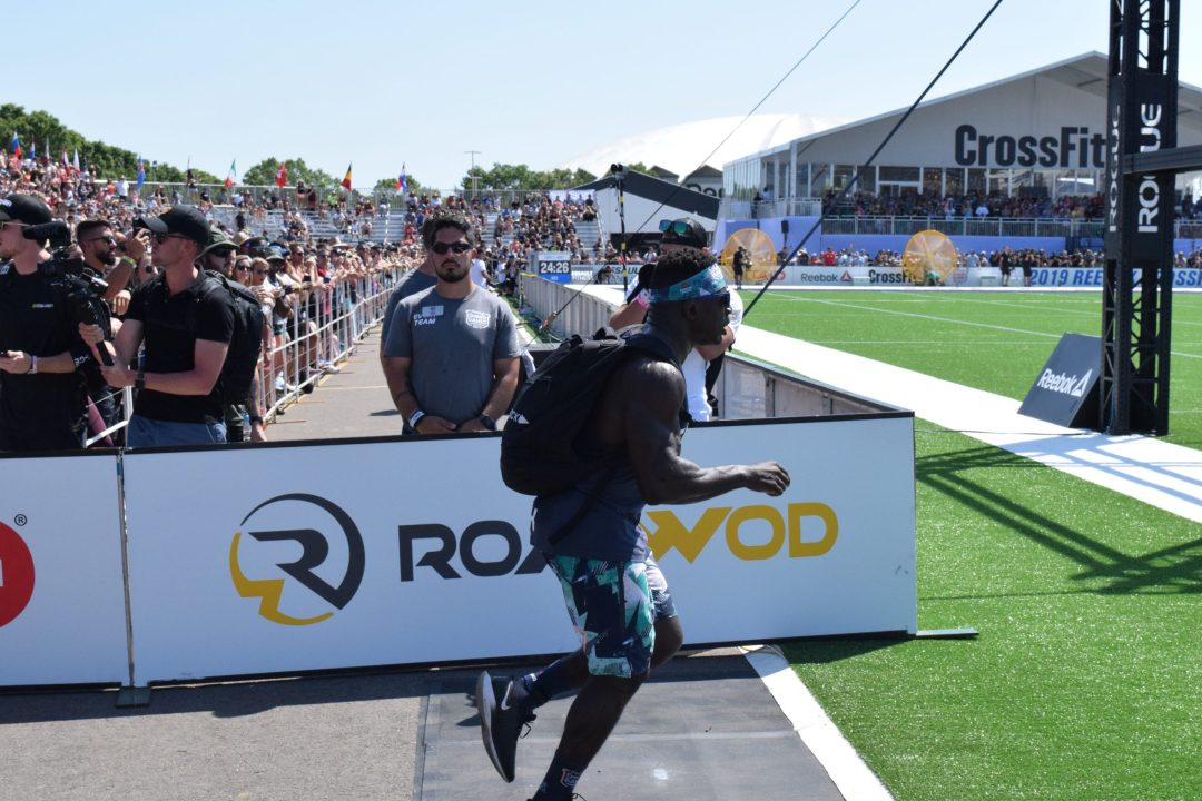 Chandler Smith completes the Ruck Run event at the 2019 CrossFit Games.
