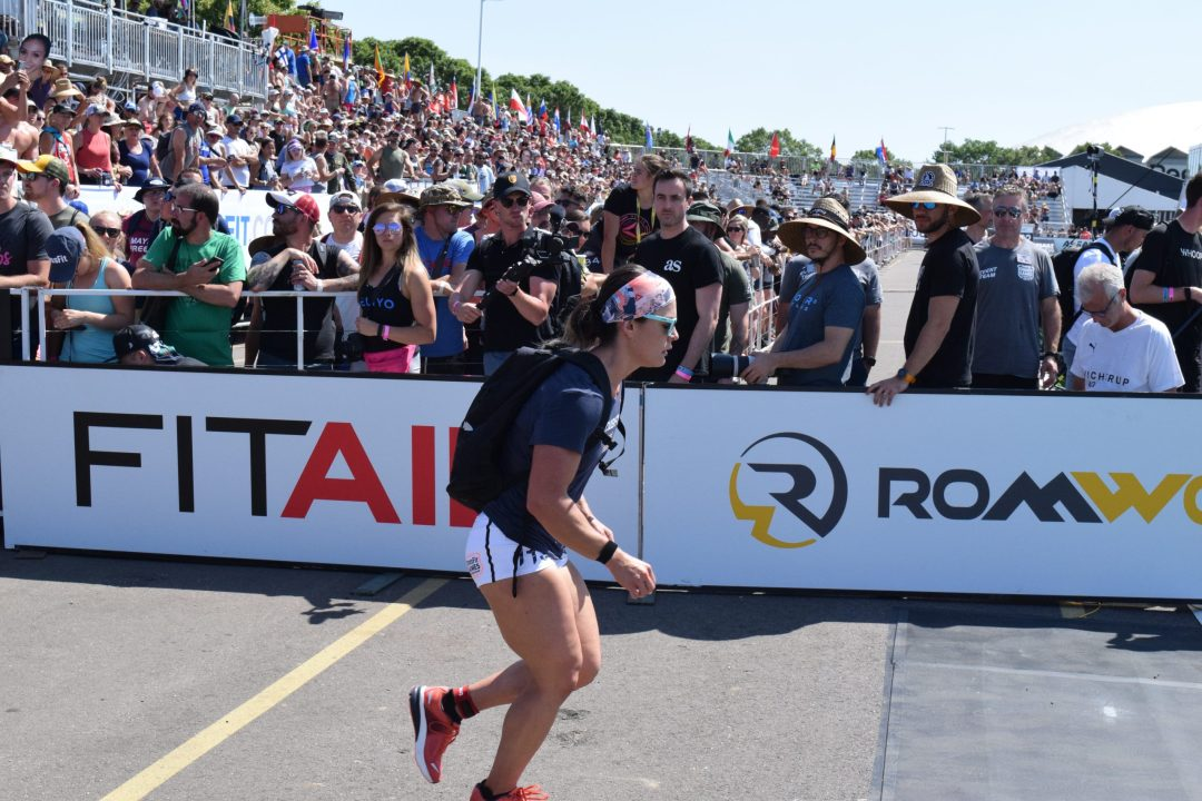 Katie Trombetta competes in the Ruck Run event at the 2019 CrossFit Games