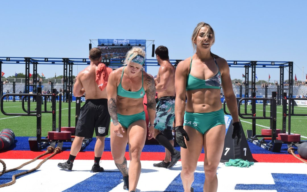 The Invictus Boston team at the 2019 CrossFit Games, featuring Tola Morakinyo, Kaitlyn Kassis, Kelsey Kiel, and Craig Kinney.