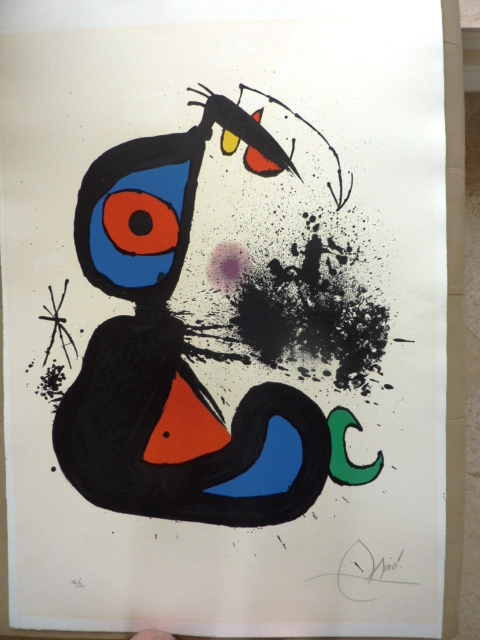 Fine art print by Modern artist Joan Miro after cleaning.