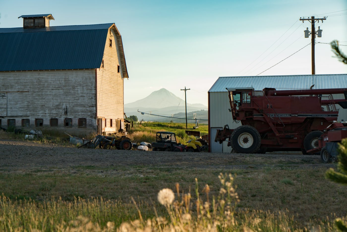 Typical farm in Dufur, OR with view of Mt. Hood