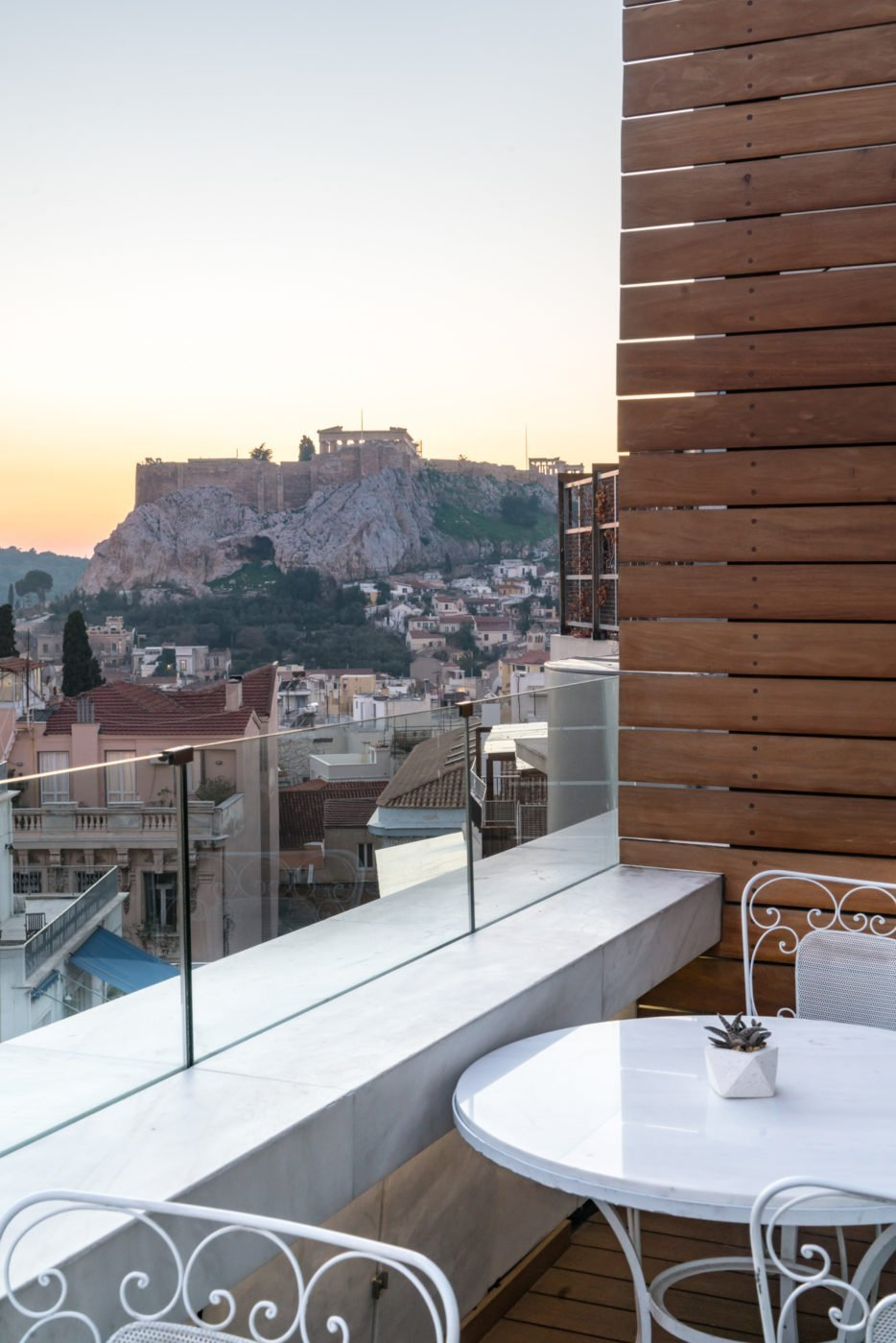 Best viewpoint of the Acropolis from the rooftop terrace at New Hotel Athens