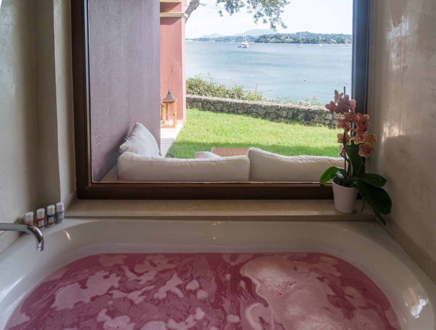 Bath bomb by Lush Cosmetics in the bath of a dream villa at Grecotel Corfu Imperial