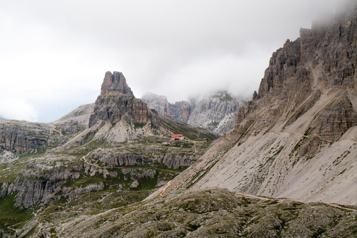 On the way to the hut at Tre Cime