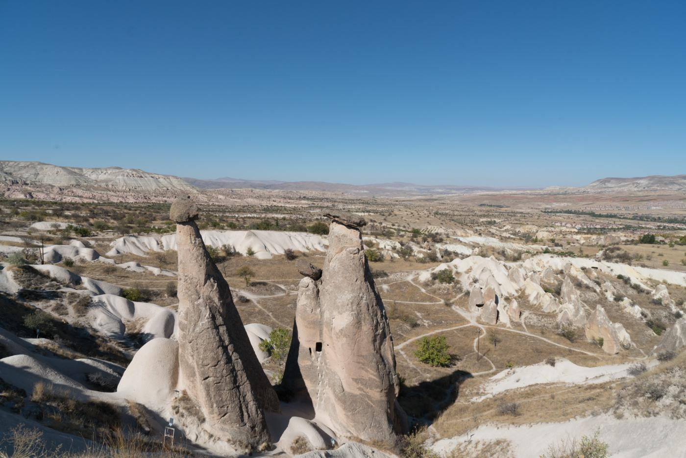 Three Graces, a viewpoint along the road in Cappadocia, Turkey