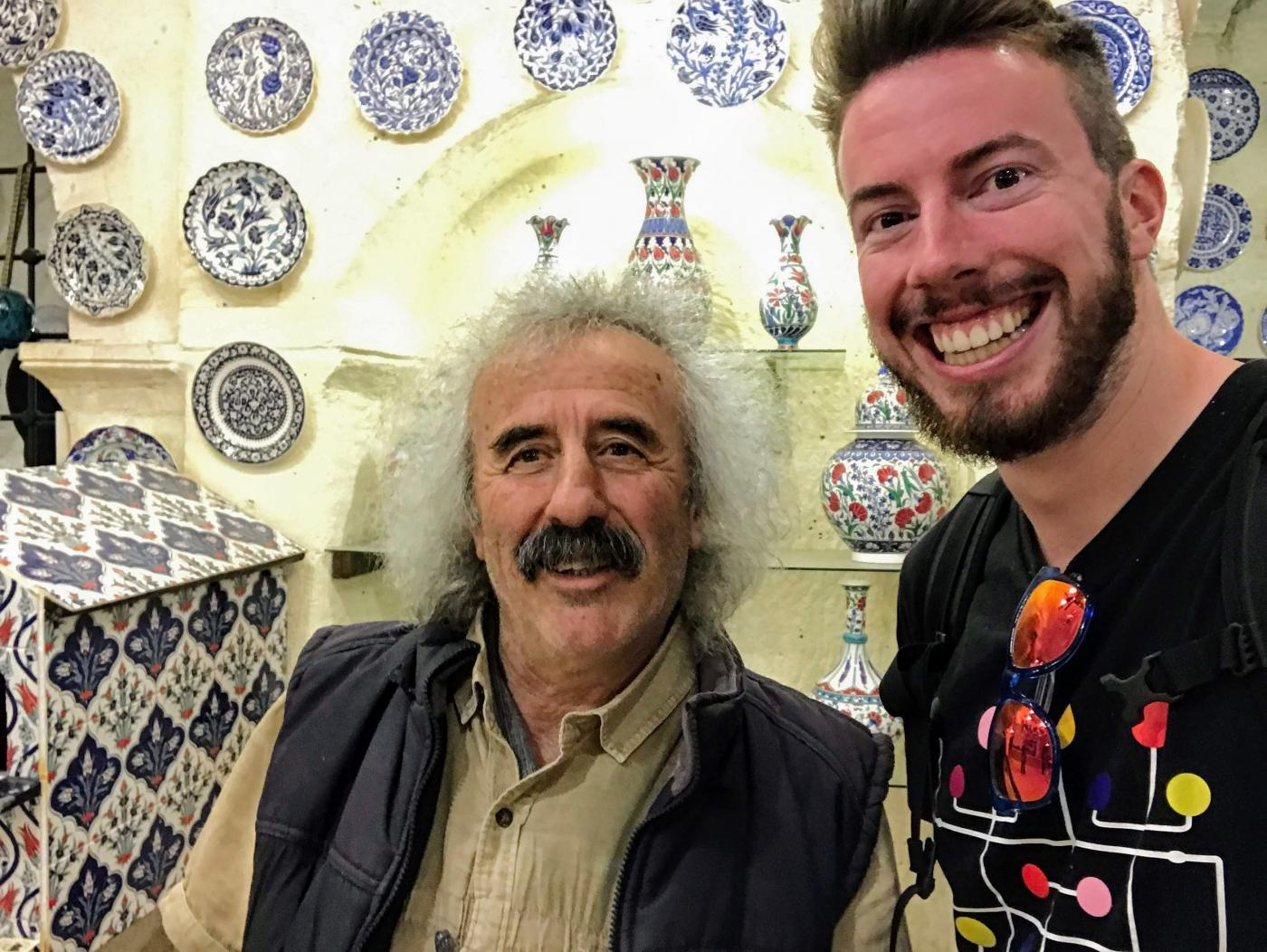 Chez Galip, also known as the creepy hair guy, or the owner of the Avanos Hair Museum, a hair cave in Cappadocia