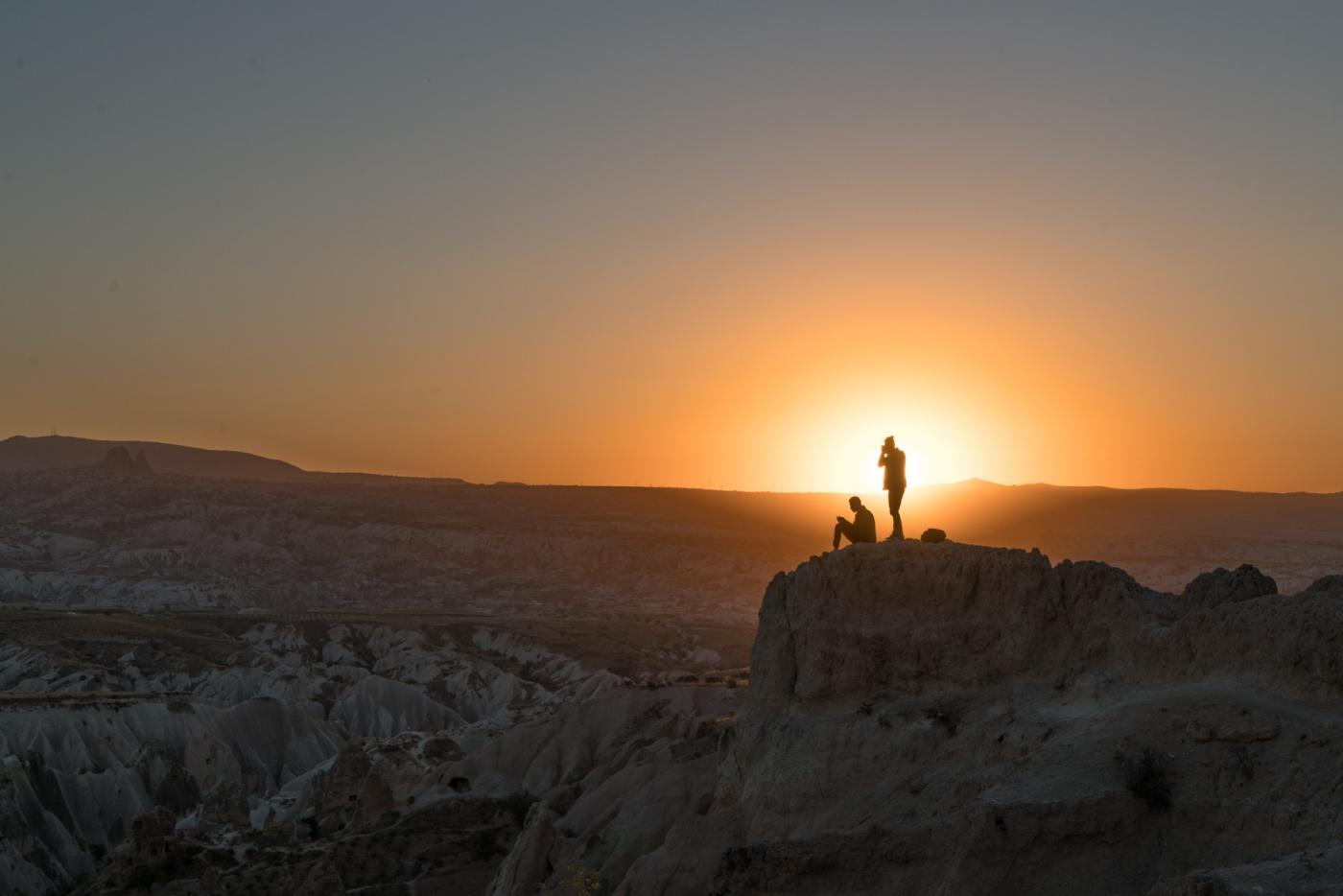 Sunset over Kizilcukur or Kizil çukur valley in Cappadocia, Turkey