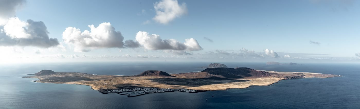 Take the ferry to visit La Graciosa, here seen from Mirador del Rio