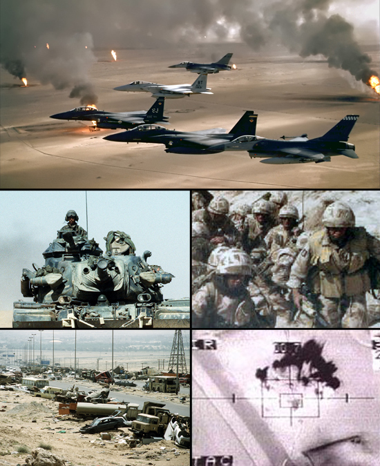 Clockwise from top: USAF F-15Es, F-16s, and a F-15C flying over burning Kuwaiti oil wells; British troops from the Staffordshire Regiment in Operation Granby; camera view from a Lockheed AC-130; the Highway of Death; M728 Combat Engineer Vehicle