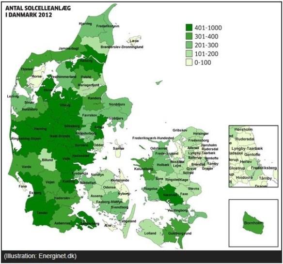 Solcellsanläggningar i Danmark 2012. Källa Ingeniören 2012-09-11.