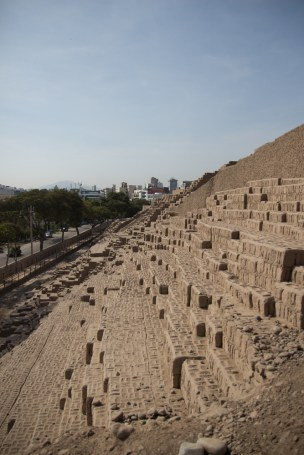 The side of Huaca Pucllana