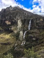 Waterfall in the distance on Laguna 69 hike