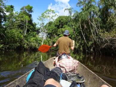 Ben having a bash a canoeing