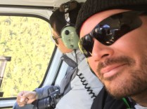 Andy in the helicopter on Fox Glacier