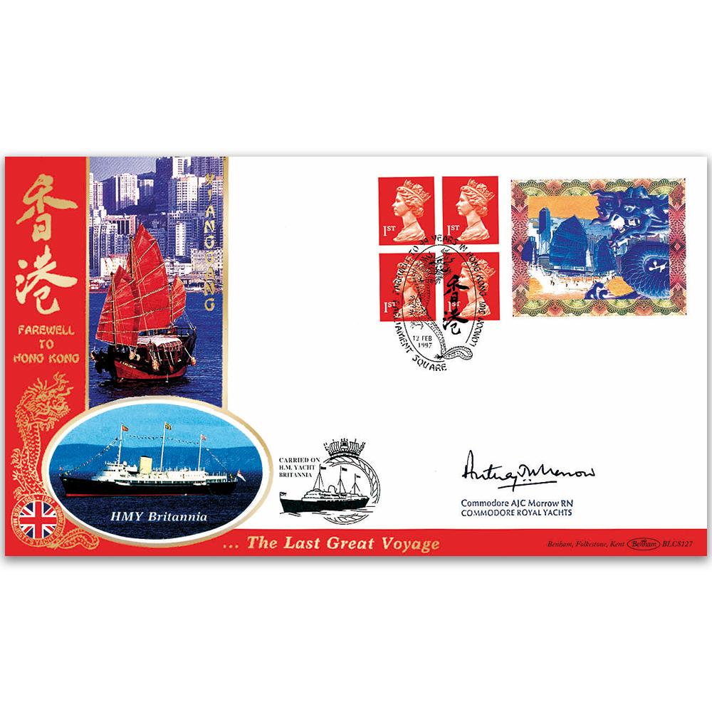 1997 Farewell Hong Kong BLCS - Signed by Commodore Anthony Morrow - BLCS 5000 Signed - Benham Luxury Cover Series - Benham Covers - Benham Philatelic