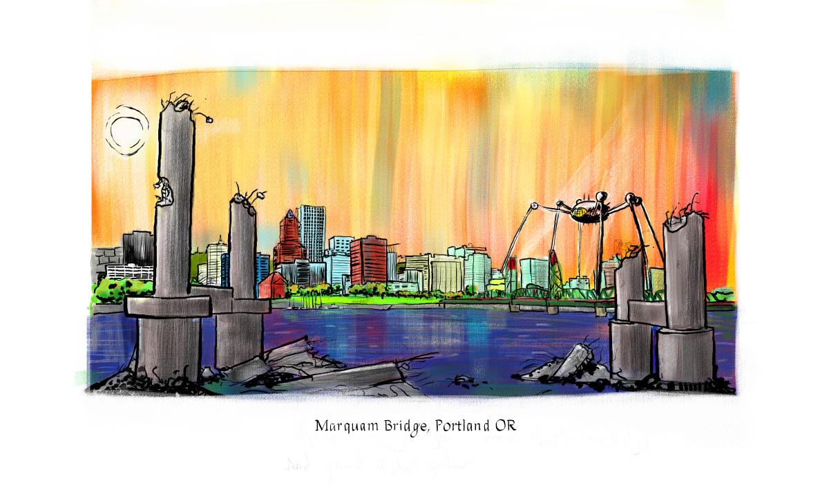 Marquam Bridge ruins