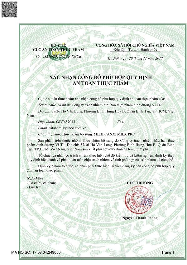 Xác nhận an toàn thực phẩm sản phẩm MILK CANXI MILK PRO
