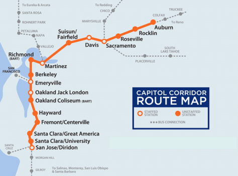 Capitol Corridor Route Map