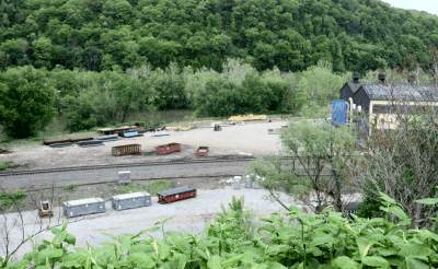 The railroad tracks next to the MSI Corp. building in Vandergrift where a train derailed in February as seen on Wednesday, May 21, 2014.  Jason Bridge | Valley News Dispatch