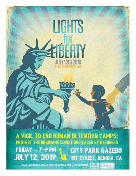 Benicia Lights for Liberty - Friday, July 12, 2019, 7 PM, City Park Gazebo, First Street, Benicia, CA