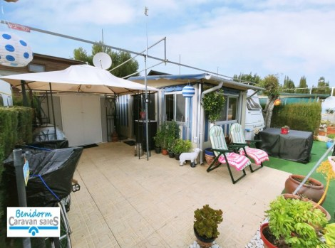 Static touring caravan for sale on Camping Benisol Campsite