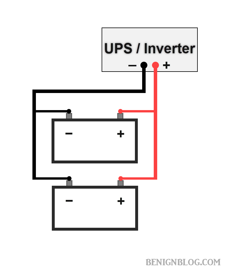 how to connect batteries in parallel with power inverter or ups rh benignblog com Simple UPS Diagram UPS Block Diagram
