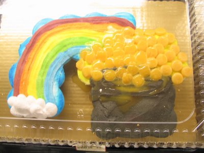 Or maybe a pot of gold at the end of the rainbow parting gift cake
