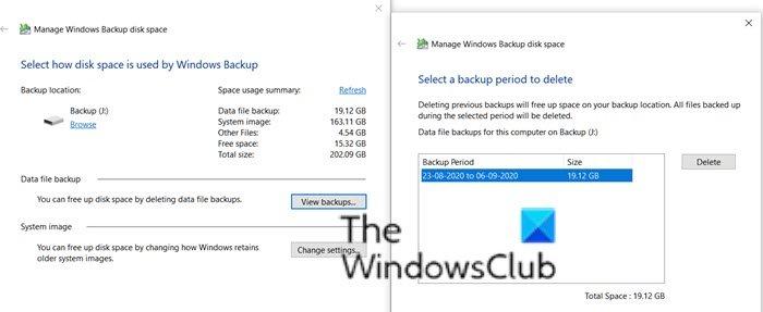 Manage Backups Windows Backup