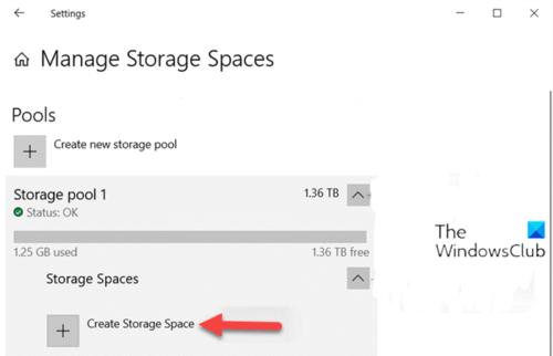 Create Storage Space for Storage Pool via Settings app