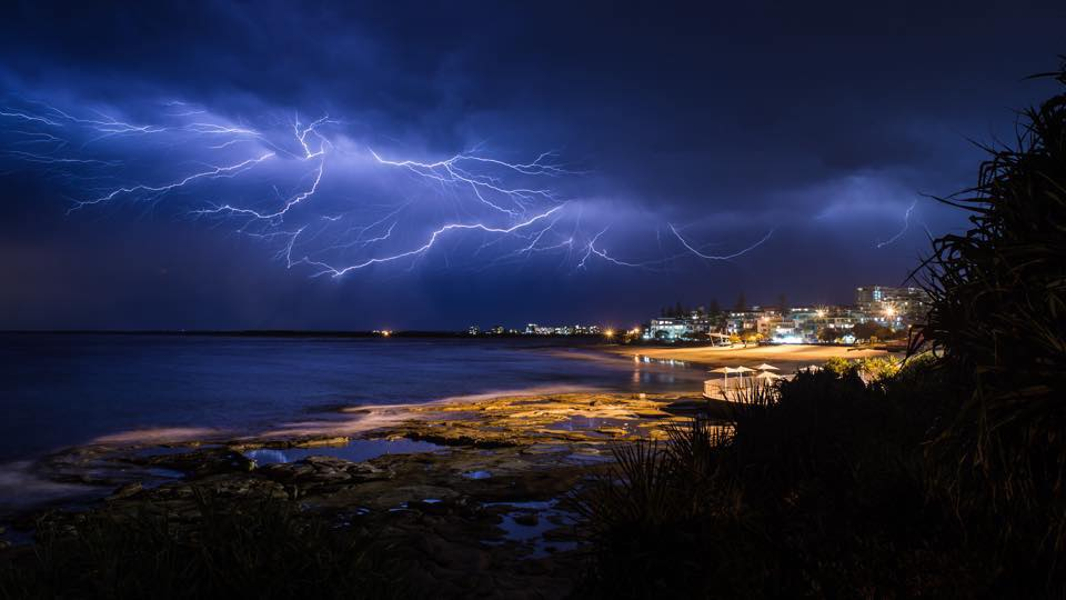 Anvil Cloud Lightning Crawlers over my hometown, Caloundra. Image by Jason Cowling