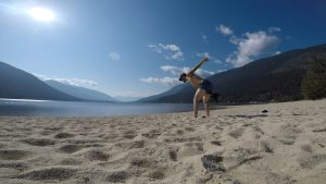Kettlebell Training on a Beach in the Kootenays