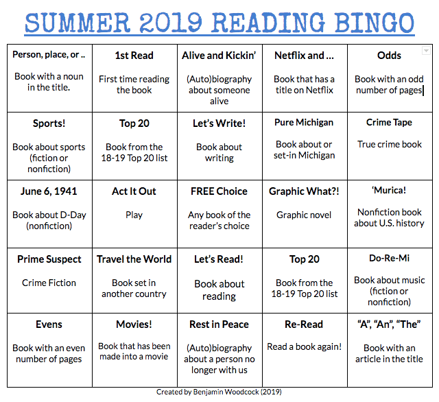 Summer Reading Bingo (2019)