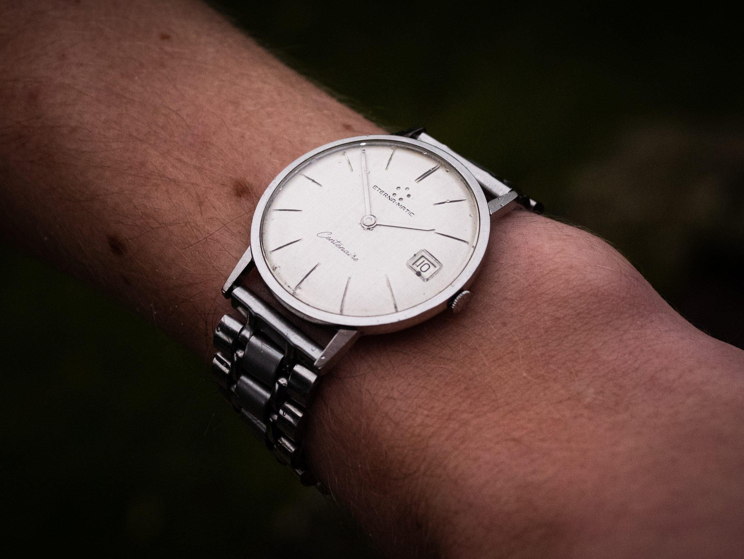 vintage Eterna 'Centenaire' Automatic linen dial