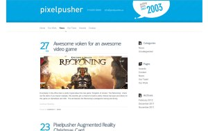 Screenshot showing the News and Blog custom WordPress page template for Pixelpusher