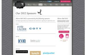 Screenshot of Mirrorball WordPress CMS sponsors page