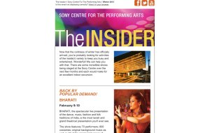 Screenshot showing the top section of the Sony Centre custom HTML Email Newsletter