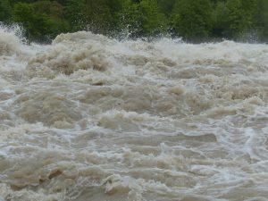 Aguas bravas que bajan cafés como parte de una riada que dejaron las intensas lluvias en la parte alta de los montes.