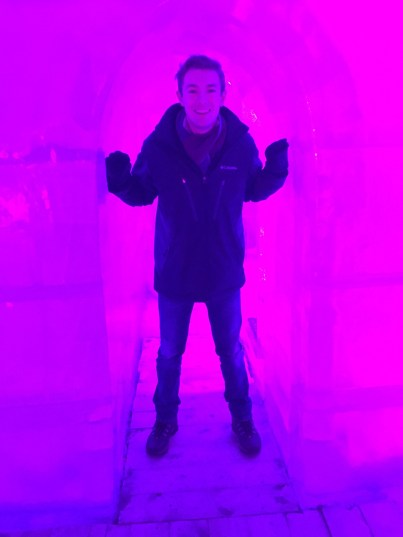 Me standing in the entrance of the ice castle.