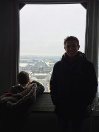 I tried to get a picture of myself with the city of Brussels below...